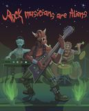 Rock musicians aliens sing a song of space. Rock musician aliens playing the guitar, drum and piano singing the song of the universe space Royalty Free Stock Photography