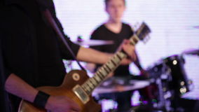 Rock musicians closeup stock footage