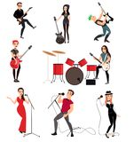 Rock musicians with guitars stock illustration