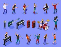 Rock musicians on isolated background vector illustration