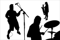 Rock musicians silhouette Stock Image