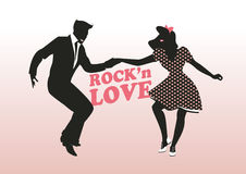 Rock'n Love: handsome guy and pin up girl dancing rock Stock Image