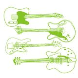 Rock'n pop. Green on a white background with three guitars stock illustration