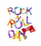 ROCK-N-ROLL天 4月13日 三角信件 免版税图库摄影