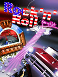 Rock'n' roll. A red chevy, a jukebox and an electric guitar on the foreground of a colored background and text rock'n' roll made in USA on it royalty free illustration