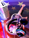Rock'n' roll. A microphone, headphones and an electric guitar at the foreground of the colors and stars of an american flag Royalty Free Stock Image
