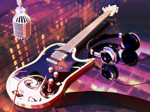 Rock'n' roll. A microphone, headphones and an electric guitar on a table reflecting the city lights and the colors and stars of an american flag Stock Image