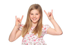 Rock-n-roll. Girl making rock-n-roll sign Stock Image