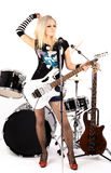 Rock-n-roll. Photo series in style rock-n-roll with the beautiful blonde Royalty Free Stock Photos