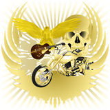 Rock n roll background and golden chopper Stock Image