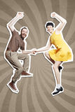 Rock`n`roll dance boogie woogie. Boogie acrobatic stunt in a studio background. Dance for rock-n-roll music royalty free stock photography