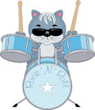 Rock N Roll Drummer. An illustration featuring a cat playing rock and roll on drums Stock Image