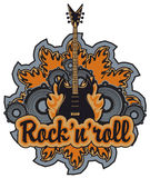 Rock n roll. Emblem with an electric guitar, speakers inscription rock and roll Royalty Free Stock Photography