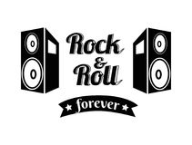 Rock n roll Forever Ribbon Vector Illustration. Rock n roll forever written in black-colored ribbon, placed between images of loudspeakers vector illustration Royalty Free Stock Photography
