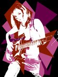 Rock'n roll girl. Pop art of pretty girl playing electric guitar stock illustration