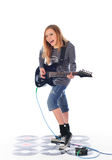 Rock'n'roll girl play guitar Stock Photo