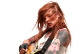 Rock'n Roll girl with tattoo Royalty Free Stock Photos
