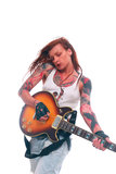 Rock'n Roll girl with tattoo Stock Images