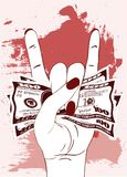 Rock-n-roll hand gesture with crumpled one hundred dollars on textured background with red paint. royalty free illustration