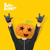 Rock n roll Happy halloween vector greeting card Royalty Free Stock Photography
