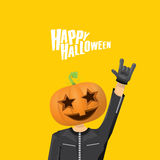 Rock n roll Happy halloween vector greeting card Stock Photography