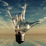 Rock n roll horns lightbulb. Rock n roll horns gesture lightbulb Stock Photography