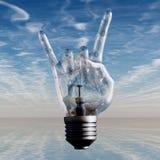 Rock n roll. Horns gesture lightbulb Royalty Free Stock Images