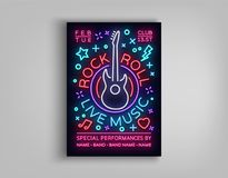 Rock n roll live music. Typography, Poster in neon style, Neon sign, Brochure, Flyer Design template for rock festival. Concert, party, live music. Music Rock Royalty Free Stock Photography