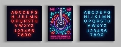 Rock n roll live music. Typography, Poster in neon style, Neon sign, Flyer Design template for rock festival, concert. Party. Music Rock and Roll. Vector Stock Photo