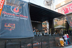 Rock 'n Roll Marathon In Los Angeles. LOS ANGELES - OCTOBER 30: Rock band play on stage at pre-show for Rock 'n Roll Marathon at LA Live in Los Angeles on Stock Photography