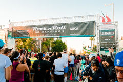 Rock 'n Roll Marathon In Los Angeles. LOS ANGELES - OCTOBER 30: Participants line up at the starting gate at the Rock 'n Roll Marathon at LA Live in Los Angeles Royalty Free Stock Photography