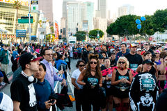 Rock 'n Roll Marathon In Los Angeles At LA Live. LOS ANGELES - OCTOBER 30: Costumed Participants head for the starting line in the Rock 'n Roll Marathon at LA Royalty Free Stock Photo