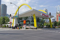Rock N Roll McDonalds in Chicago. May be used as an ad for advertising fast food or for advertising the most famous McDonald's in america royalty free stock photo