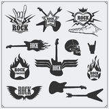 Rock`n`Roll music symbols, labels, logos and design elements. Royalty Free Stock Images