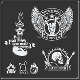 Rock`n`Roll music symbols, labels, logos and design elements. Black and white Royalty Free Stock Image