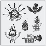 Rock`n`Roll music symbols, labels, logos and design elements. Stock Images