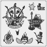 Rock`n`Roll music symbols, labels, logos and design elements. Print design for t-shirts. Vector vector illustration