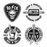 Rock n roll music vintage emblems, labels, badges. Set of four rock n roll music vector emblems, labels, badges and logos in vintage style on white vector illustration