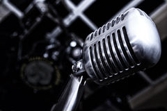 Rock n Roll never Dies. Vintage Microphone Shiny Chrome Retro Stock Images
