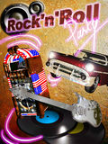Rock'n' roll party. A red chevy, a jukebox, an electric guitar, bass loudspeakers and vinyl discs on the foreground of a grunge rock colored background and text royalty free illustration