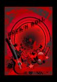 Rock'n Roll poster, cdr vector. Rock'n Roll red poster with guitar, vector format vector illustration