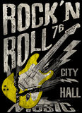 Rock'n Roll poster guitar graphic design tee vector art Royalty Free Stock Photo