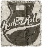 Rock'n Roll poster guitar graphic design tee vector art Royalty Free Stock Photography