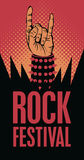Rock n roll sign. Hand in rock n roll sign and an inscription rock festival Royalty Free Stock Photos