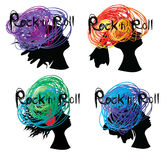 Rock`n`Roll sign on spot sketches woman portraits background. Vector image set of graphic woman portraites with sketches spots and Rock`n`Roll sign Stock Photo