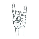 Rock n roll sign,  on white background. Hand. Vector illustration Royalty Free Stock Image