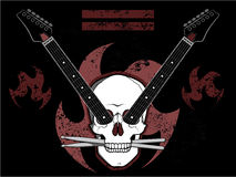 Rock N Roll Skull. Grunge heavy metal style skull, guitar, and drumsticks illustration Stock Photos