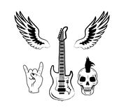 Rock n Roll Symbol Electric Guitar Punk Skull Icon. Set of rock n roll symbols as electric guitar, punk skull, crown hand gesture and two wings vector Stock Photo