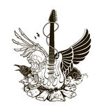 Rock n roll vector illustration. Guitar Royalty Free Stock Images