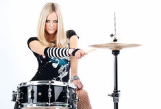 Rock-n-roll With The Beautiful Blonde Royalty Free Stock Images